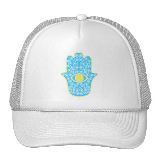 Yellow Teal Hamsa-Hand of Miriam-Hand of Fatima pn Mesh Hats