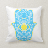 Yellow Teal Hamsa-Hand of Miriam-Hand of Fatima.pn Pillow