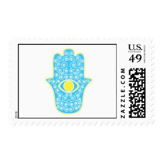 Yellow Teal Hamsa-Hand of Miriam-Hand of Fatima.pn Postage