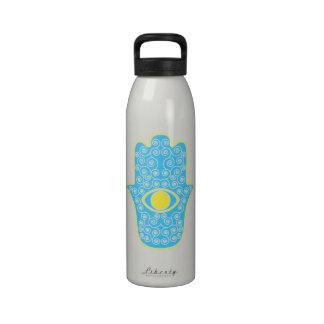 Yellow Teal Hamsa-Hand of Miriam-Hand of Fatima.pn Reusable Water Bottle