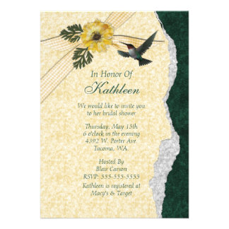 Yellow Teal Hummingbird Bridal Shower Personalized Invitation
