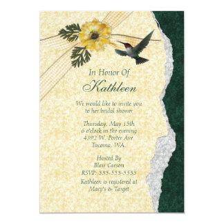 Yellow & Teal Hummingbird Bridal Shower Personalized Invitation