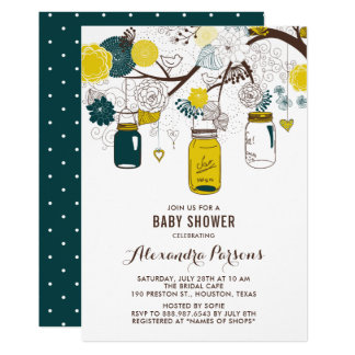 Yellow & Teal Mason Jars | Floral Baby Shower Card