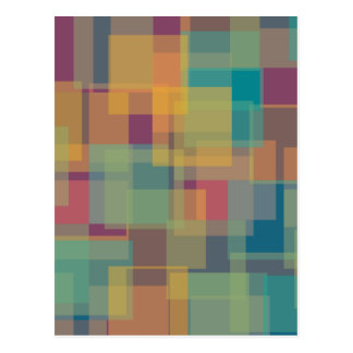 Yellow Teal Purple Pink Colour Squares Postcard