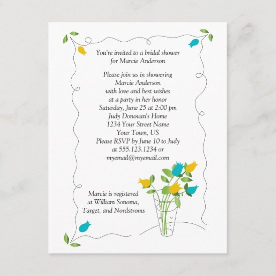Yellow & Teal Tulip Flowers Bridal Shower Invite