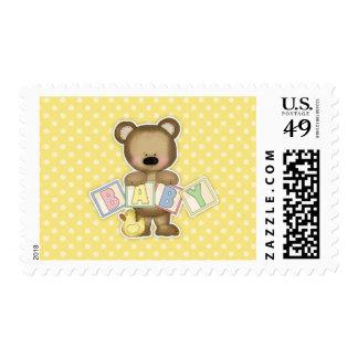Yellow Teddy Bear Blocks Baby Shower Stamp