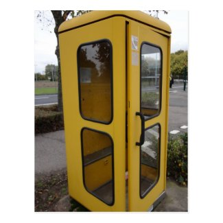 Yellow Telephone Booth Postcard