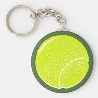 yellow tennis ball basic round button keychain