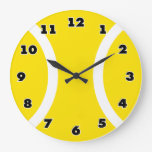 Yellow tennis ball clock with large modern numbers