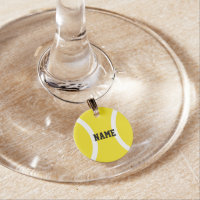Yellow tennis ball custom round wine glass charms