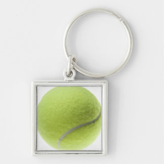 Yellow Tennis Ball Customized Template Silver-Colored Square Keychain