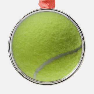 Yellow Tennis Ball Customized Template Round Metal Christmas Ornament