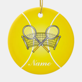 Yellow Tennis Ball | DIY Name Double-Sided Ceramic Round Christmas Ornament