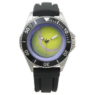 Yellow_Tennis_Ball_Mens_Black_Rubber_Strap_Watch Wristwatch