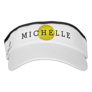 Yellow Tennis Ball Name Monogram Visor