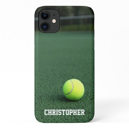 Yellow Tennis Ball on Green Court Personalized iPhone 11 Case