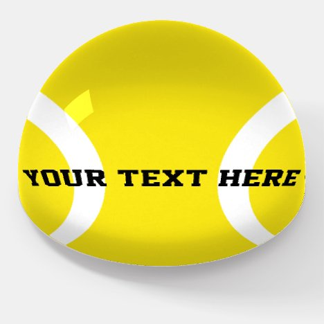 Yellow tennis ball paperweight gift for coach