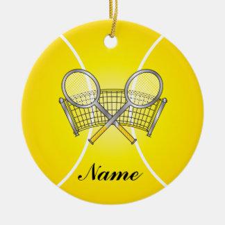 Yellow Tennis Ball Personalize Ceramic Ornament