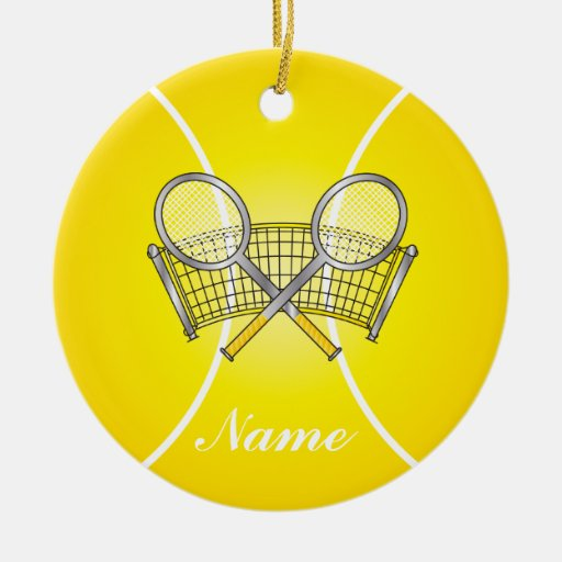 Yellow Tennis Ball Personalize Christmas Ornament