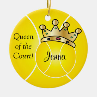 Yellow Tennis Ball| Queen of the Court Personalize Ceramic Ornament