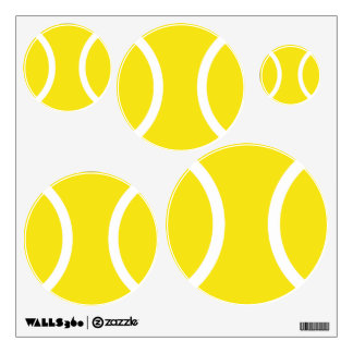Yellow tennis ball wall decals for sports bedroom