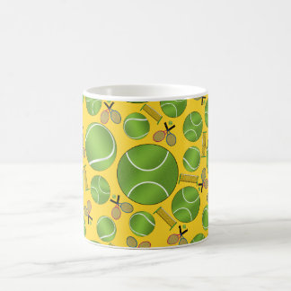 Yellow tennis balls rackets and nets coffee mug