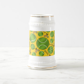 Yellow tennis balls rackets and nets 18 oz beer stein