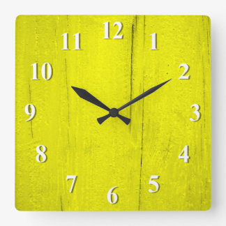 Yellow Textured Wood Square Wall Clock
