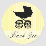 Yellow Thank You Baby Buggy Sticker