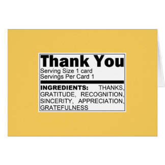 Yellow Thank You Ingredients Card