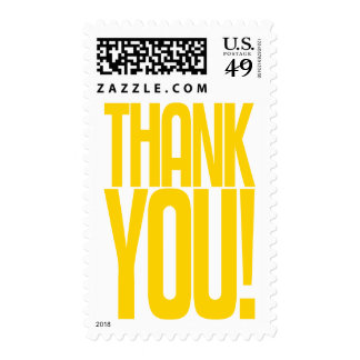 Yellow Thank You! Postage Stamp