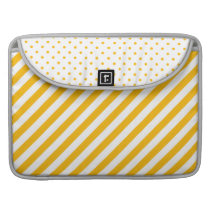 Yellow Thick Stripes and Polka Dot Laptop Sleeve |