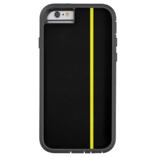 Yellow Thin Vertical Line on Black Tough Xtreme iPhone 6 Case