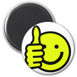 Yellow Thumbs Up Smiley 2 Inch Round Magnet