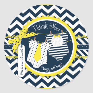 Yellow Tie Bowtie Chevron Print Baby Shower Sticker