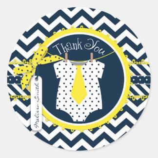 Yellow Tie Chevron Print Baby Shower Round Sticker