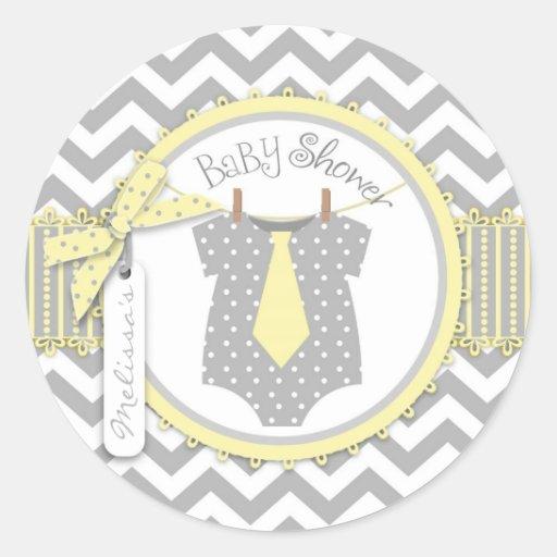 Yellow Tie & Chevron Print Sticker