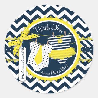 Yellow Tie Tutu Chevron Print Baby Shower Stickers