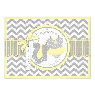 Yellow Tie Tutu Chevron Print Twins Baby Shower Cards