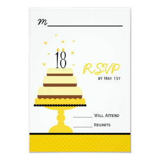Yellow Tiered Cake 18th Birthday Party RSVP Card