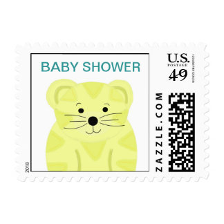Yellow Tiger Baby Shower Postage Stamp
