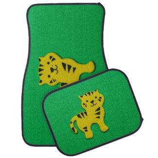 Yellow tiger car mat