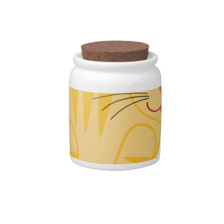 Yellow Tiger Cat Candy Jars