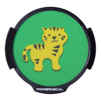 Yellow tiger LED car window decal