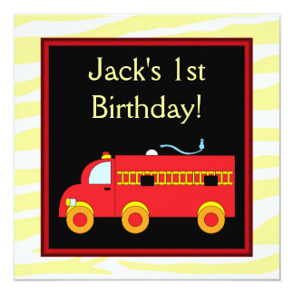 Yellow Tiger Red Fire Truck Boy 1st Birthday Party Card