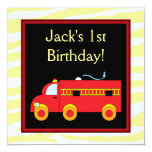 Yellow Tiger Red Fire Truck Boy 1st Birthday Party Personalized Invites