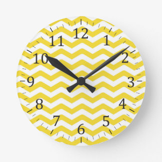 Yellow Tight Chevron Pattern Wall Clock