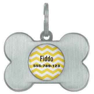 Yellow Tight Chevron Pattern Pet Name Tag