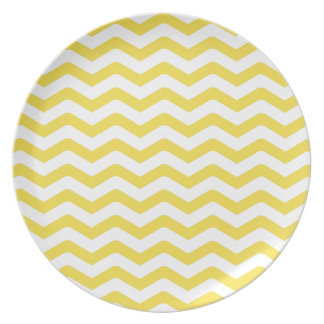 Yellow Tight Chevron Pattern Party Plates
