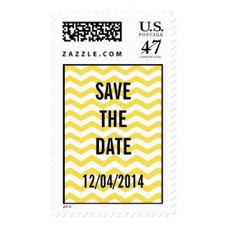 Yellow Tight Chevron Pattern Postage